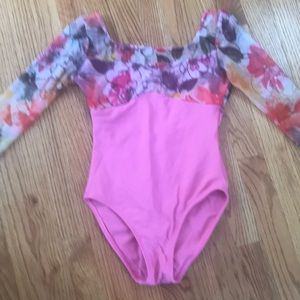 Pink long sleeve leotard with floral print mesh -S